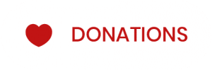 White button with red heart and red text reading Donations