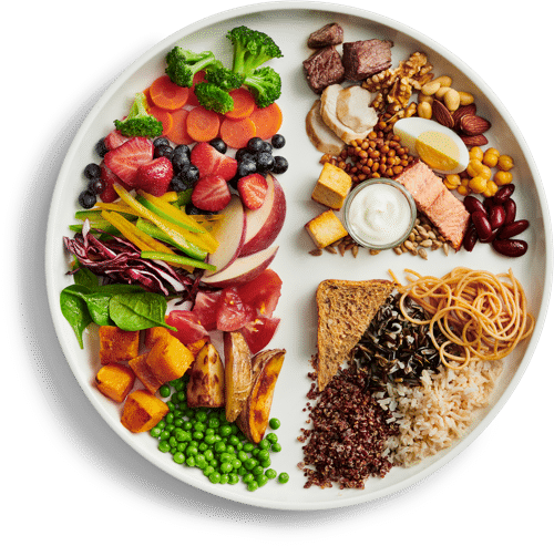 Canada's food guide displayed on a plate