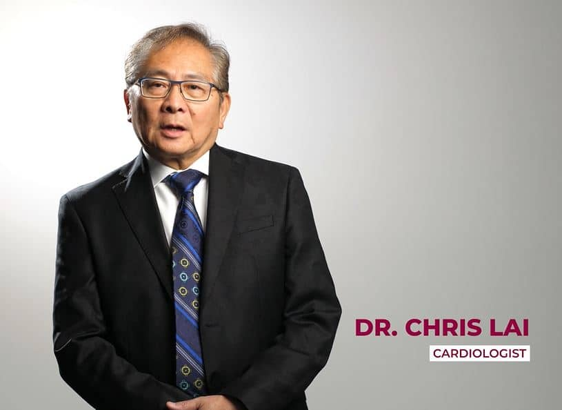 """Photo of Doctor Chris Lai with text """"cardiologist in bottom right corner"""